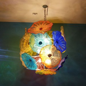 Colored Blown Glass Chandelier Lights Decorative Murano Glass Flower Pendant Lights 32 Inches High LED Italian Style Plate Chandelier