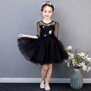 Crianças Princess Party Black Dress Wedding Dança Prom vestido sem mangas Lantejoula dos desenhos animados Cerimonial Robe Tulle elegante em camadas Vestidos jz66 #