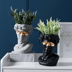 Flower Pot David Statues Home Decoartion Succulent Planter Plant Pots Garden Pots Resin Vase Home Decor Planters for Succulents Y200709