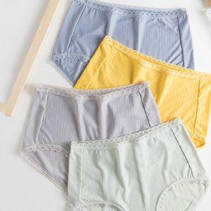 Sous-vêtements Femme Ice Silk Cotton antibactériennes Crotch respirante femmes mi taille Taille Plus sexy en dentelle Hanches Lady Triangle Panties