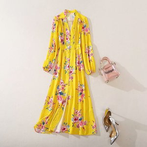 Holiday beach sale summer ins wholesale runway new hot V-neck Long sleeves Button Split Panelled Print Floral dresses