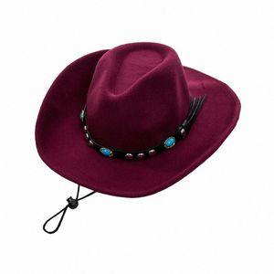 Chapeau de cowboy Stetson style Fedora Cotton Sun Summer Western unisexe Fedora panama Hat cGGI #