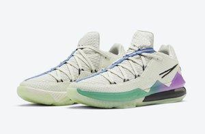 LeBron 17 Low Glow in the Dark billig Verkauf mit Kasten Fluoreszenz Basketballschuhe speichern Speicher US7-US12