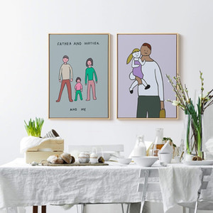 Abstract Wall Art Cartoon Canvas Painting Boys and Girls Warm Family Poster Prints Wall Picture for Childrens Room Nursery Sweet Decoration