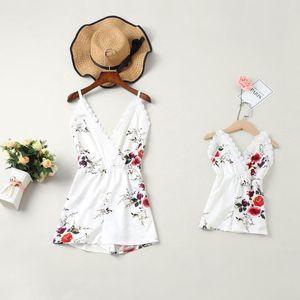 Giyim Aile Kıyafetler Suits Eşleştirme PPXX Plaj Kız Bebek Giydirme Kadınlar Tulum Elbise Dantel anne kızı Elbiseler Aile