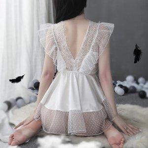 레이스 베이비 돌 여성 화이트 섹시한 란제리 아기 인형 슈 포르노 섹스 슬립 착용 미니 드레스, 에로틱 한 의상 의류 나이트 가운