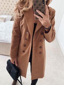Inverno cappotti e giacche doppio petto delle donne cappotto lungo coreano dell'annata elegante cappotto femminile Plus Size Caldo Nero Blazer