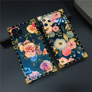Luxury Blu-Ray Rose Flower Case for iPhone 11 PRO XS Max X XR Fashion Square Cover Phone Cases for Samsung S20 Ultra S10 S9 Note 10 9