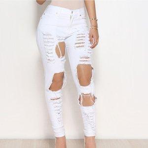 Artı Yüksek Bel olan kadınlar Sevgilisi Kalem Skinny Jeans Kadın kadın için Boyut Jeans Siyah kadın pantolonu Ripped
