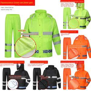5grst Duty takım yüksek hızlı bölünmüş giysi Koruyucu iş elbiseleri floresan emek koruma güvenli sürme yağmurluk trafik yansıtıcı iş r