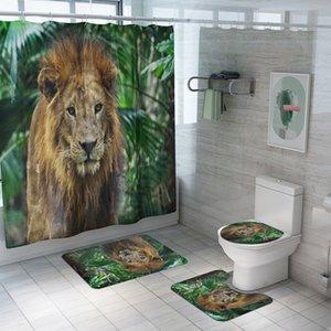 Nueva Serie Animal cortina de ducha impermeable de cuatro piezas estera del tocador del cuarto de baño Set Modelos hogar de la cortina de explosión