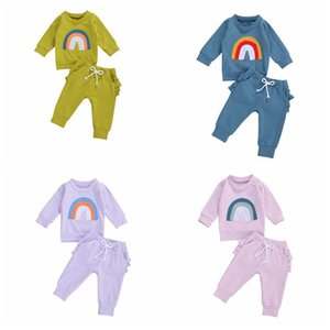Kids Designer Clothes Boys Clothing Sets Rainbow Tops Ruffle Pants Suits kids Solid Color Clothes Girls Boys Outfits Clothing Sets LSK522