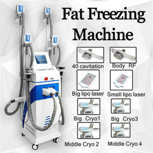5 In 1 Cryolipolysis With 5 Cryo Handles+40Khz+Rf+Facial Rf+ 8 Pads Lase Cavitation Degree Fat Freeze Slimming Machine Ce