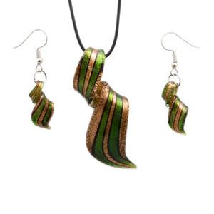 6PCS Free Shipping Wholesale Hot Fashion Twisted Silver Foil Lampwork Glass Necklace Pendants Fashion Necklace