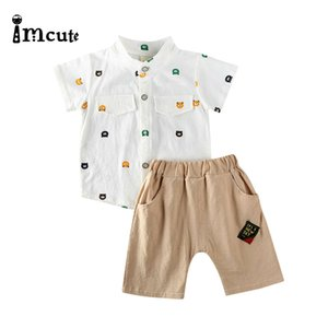 Imcute 2020 2pcs Newborn Baby Boys Clothes Set Kid Cartoon Animal Short Sleeve T-shirts Tops Solid Shorts Set 6M-3T DropShip