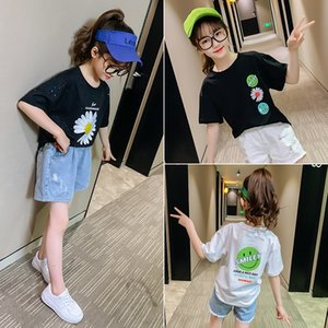 qI5JJ Children's all-match Top T- T-shirt 2020 girl's Korean style top medium-and-large children's foreign style printing Chinese fashionabl