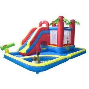 Niños inflable al aire libre de diapositivas castillo inflable House Usa agua trampolín para niños inflable de diapositivas Castillo hinchable Juegos parque acuático con piscina