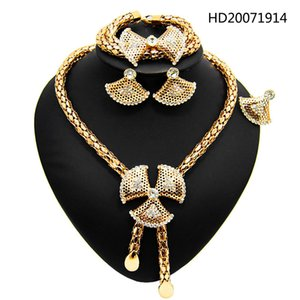 Yulaili Fashion African Rhinestone Gold Color Geometry Necklace Earrings Bracelet Ring for Women New Trendy Bridal Jewelry Sets