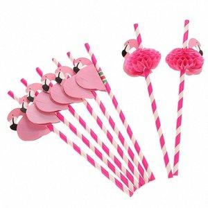 50PCS criativa Flamingo descartável Straw festa na piscina casamento aniversário Decoração Bar material de cozinha Louça VkVX #