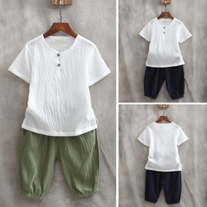 Baby Boys Clothes Set Kids Summer short sleeve tshirt + Pants 2pieces Suit Children Clothing set linen