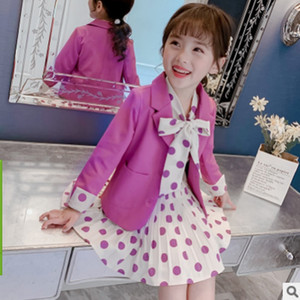 Girls Dress Blazers Sets 2020 New Aummer and Spring Girls Children's Fashion Single-breasted 2 Solid Colors Suits Size4-14 ly388