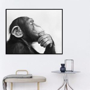 Black and White Animal Poster Prints Abstract Wall Art Monkey Canvas Oil Painting Modern Pictures Living Room Home Decoration