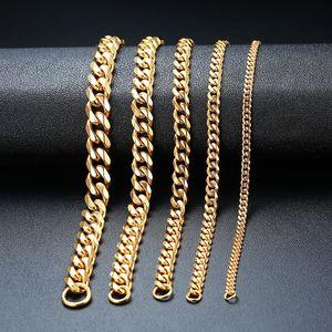 Moda Jóias Homens Pulseira Mulheres Pulseira Correntes Pulseira Link de Aço Inoxidável Braceletes Bangle Gold Prata Prata Cor 3mm-11mm