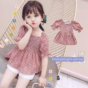 Girl baby Korean style floral children princess style square shirt collar short sleeve bubble sleeve baby shirt summer fashion