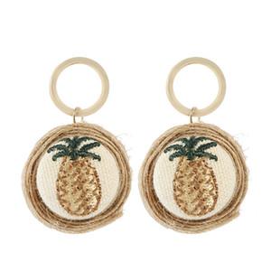 Corée main broderie d'ananas Pendentif ronde Boucles d'oreilles pour les femmes tendance chanvre corde Braid boucle d'oreille Bijoux cadeau