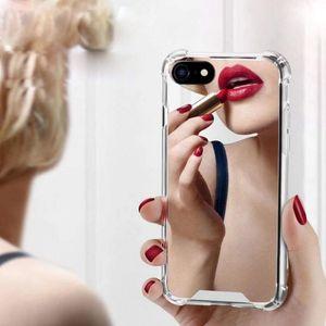 Роскошный зеркало для макияжа Акриловая Мягкий чехол телефон для iphone 11 Pro Max XS XR X MAX противоударный чехол для Iphone SE2 7 8 6S 6 Plus Назад Shell