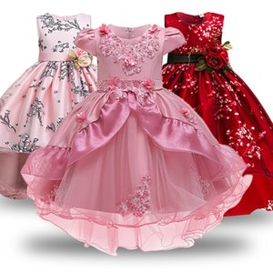 Flower Girl Wedding Evening Party Dresses Lace Tailing Formal Kids Dresses For Girls Princess Dress Teenage 3-12Y Dress Vestidos T200709