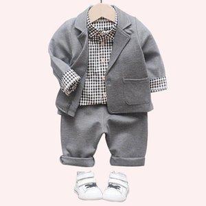 Baby Clothes Plaid Shirt + Jacket + Pants 3 Pcs Clothes For Boys Blazers Suit Kids Boy Spring Autumn Boys Formal Suits