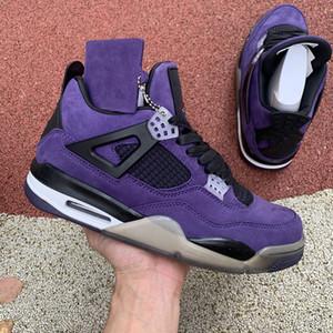 Yeni Sıcak Satış Travies Scottes 4 4S Cactus Jack IV Mor Mavi Basketbol Spor Spor ayakkabılar Otantik basketbol Shoes x