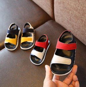 2020 Summer Boys Leather Sandals for Girls Flat Children Beach Shoes Kids Sports Soft Non-slip Casual Toddler Sandals 1-10 years Y200619