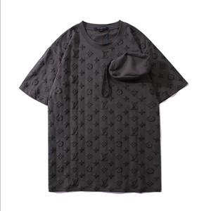 T-shirt gancio-e-LOOP MANICA CORTA T-shirt nuovi uomini di estate a mano cerniera bag staccabile Lettera Moda Top 2 colori M-2XL