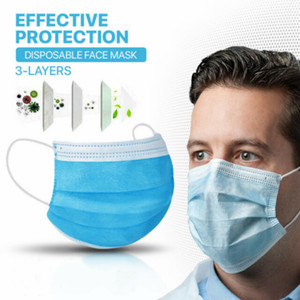 3 ply Disposable Masks Anti dust PM2.5 dustproof Breathing anti pollution protective Care Elastic mask blue