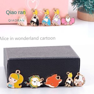 DIY accessories Korean alloy dripping small cartoon fox Alice girl earrings chain Diy chain pendant necklace pendant