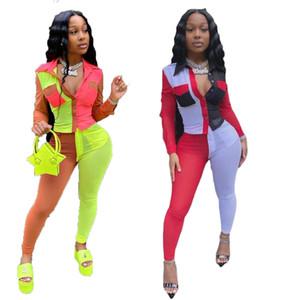 Womens 2PCS Patchwork Shirt Sets Woman Autumn Colourful Slim Sexy Suits Woman Lapel Neck Pocket With Long Pants Set