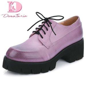 Doratasia 2020 Platz High Heels Big Size 44-Frauen-Schuhe Vintage-Plattform Lace Up Pumps
