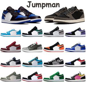 Travis Scotts bajo Jumpman 1S zapatos para hombre de las zapatillas de deporte Noble gris roja del dedo del pie Corte Púrpura Gris Blanco Obsidiana baya verdadera Slip Chicago zapatos de los hombres