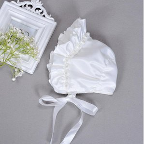 White Baptism Christening Hat Cap Bonnet Beanie with Pearls Flowers for 0-6M Baby Girls Toddlers Newborns Infants
