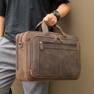 Brown 15.6 '' Véritable Sac de portefeuille masculin Nesitu de Messenger Nesitu 17 '' Ordinateur portable Travel Business Hommes Café Grand NRMQH