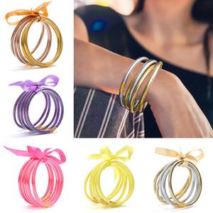 Allwetter-Armband Glitter Gefüllt Stardust Silikon-Kreis-Frauen Bowknot Jelly Armband-Armband Femme 2019 Schmuck 5 PC / Set