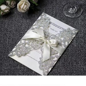 20pcs lot Glitter Paper Wedding invitations Silver Gold Laser Cut Wedding Invitation Card with Blank inner card Universal Cards