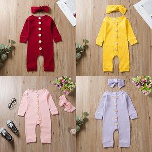 Младенческая Статья PIT Комбинезоны ободки наборы Девочки с длинным рукавом Bodysuit твердая кнопка Ромпер бутик Новорожденные Одежда Нижнее M2487