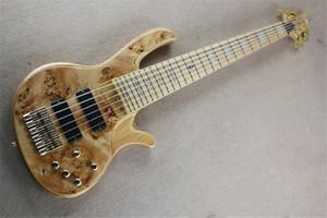 Ücretsiz kargo deoliver 6 dizeleri bas gitar, kül ahşap gövde, burl akçaağaç kaplama, 19 mm akor mesafe, orijinal renk kabukları kakma