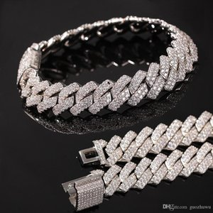 New Arrival Luxury Designer Gold Bling Diamond Mens Cuban Link Chain Bracelet Iced Out Cubic Zirconia Curb Wristband Chains Jewelry For Guys