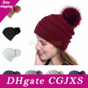 Kadınlar Örme Beanie Hat Moda Kış Sıcak Yumuşak Kürk Topu Hat Bayanlar Kafatası Katı Tığ Kayak Cap Açık Partisi Şapka TTA1636-15