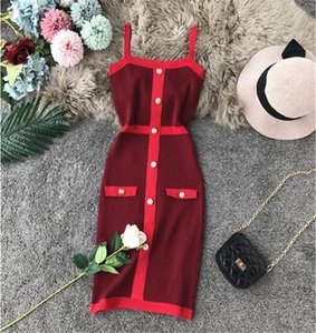 Fashion Sexy Suspenders Dress Women Your Waist Tight Sleeveless Bag Hip Dress Elasticity Knit Dress 2020 New Listing Women Clothing