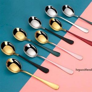 Stainless Steel Dessert Spoon Coffee Ice Cream Dessert Tea Spoon Round Head Coffee Scoop Cafe Accessories